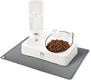 Marchul Transparent Cat Bowl with Feeding Mat, Cat Gravity Water Bowl, Tilted Raised Kitten Food Bowls