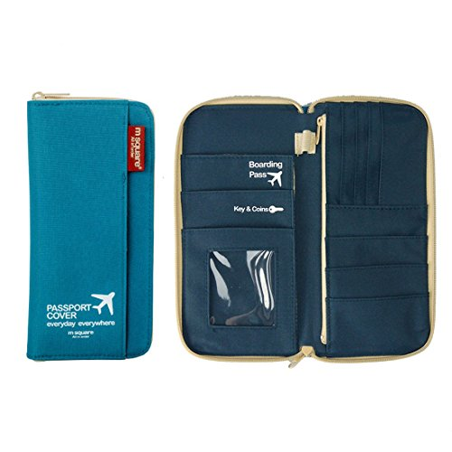 M Square Travel Passport Wallet Credit Debit Card Holder (Navy - Square Penn Stores