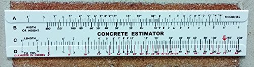 Concrete Estimator Slide Ruler 200 Yard Volume Calculator (Estimator Ruler)