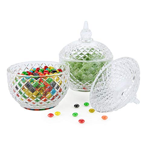 ComSaf Glass Candy Dish with Lid Decorative Candy Bowl, Crystal Covered Storage Jar, Set of 2(Diameter:3.7