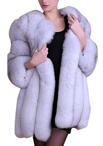 Women's Winter Thick Outerwear Warm Long Fox Faux Fur Coat (US 10-12, grey) by Luodemiss