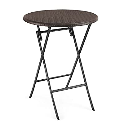 Homebeez Folding Bistro Outdoor Patio Rattan Table Brown (Brown Round) - Table: 28.3 x 70.8 x 29.5 inches Stylish Design, Plastic Pieces on Each Foot, Keep the Floor From Scratching. Easy To Set Up and Fold. Maintenance Free, Simply Clean with Wet Cloth. - patio-tables, patio-furniture, patio - 41shOqsWJIL. SS400  -