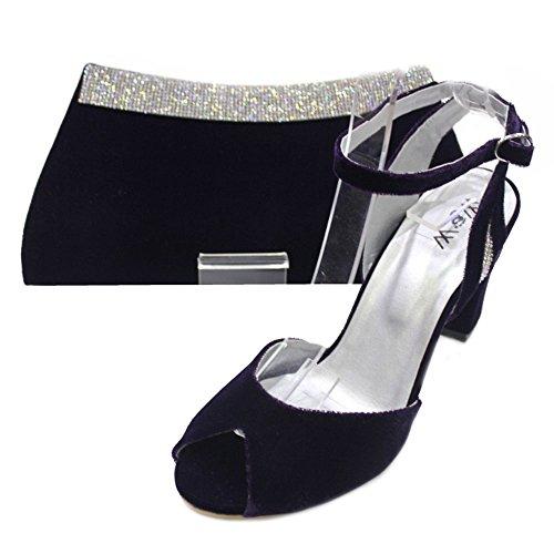 Wear & Walk UK - Sandalias de vestir de Terciopelo para mujer Morado - morado