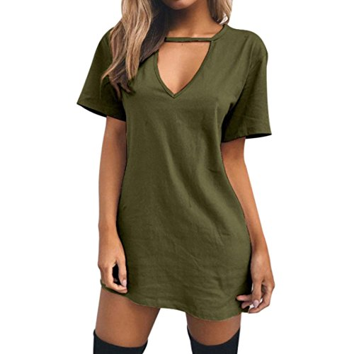 Boomboom Spring Women Choker V Neck Casual Mini T-Shirt Dress (S, Green)