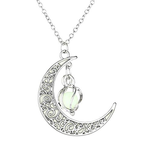 (NUOXIAN Luminous Jewelry Glow in The Dark Necklace Moon Spiral Pendant Stainless Steel Chain Charms )