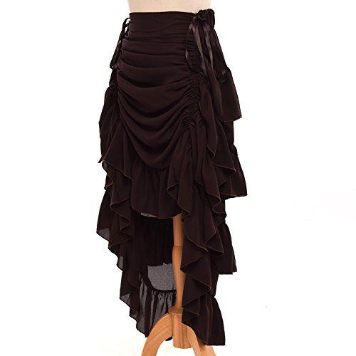GRACEART Women's Victorian Steampunk Skirt Overskirt (XXL (Waist 28