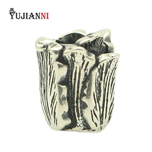 Calvas 925 Silver Tulips Beads for DIY Jewelry Making 4.5mm Hole Cabbage Charms Fits European Original Troll Bracelet & ()