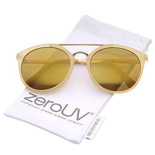 zeroUV - Modern Double Bridge Colored Mirror Lens Round Aviator Sunglasses 57mm (Nude-Gold / Gold - Peepers Jeepers Sunglasses Aviator