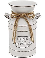 Soyizom Metal Flower Vase Vintage Decorative Bucket Vase for Flower, Farmhouse Decor Milk Can Vase with Handle French White Vase Galvanized Finish Pot Shabby Chic Vase Jug for Rustic Home Decoration