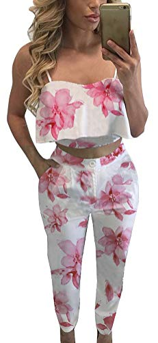 FANCYINN Women 2 Pieces Set Light Pink Floral Print Crop Top and Bodycon Long Pants Casual Style M