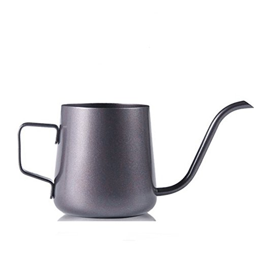 Professional 8Oz (240ml) Pour Over Coffee Tea Drip Kettle with Long Narrow Spout Non-Stick Coffee Teflon Tea Pot Stainless Steel Black by Fulstarshop