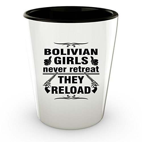 Brazil Traditional Costume For Kids (BOLIVIA BOLIVIAN Shot Glass - Good Gifts for Girls - Unique Coffee Cup - Never Retreat They Reload - Decor Decal Souvenirs Memorabilia)