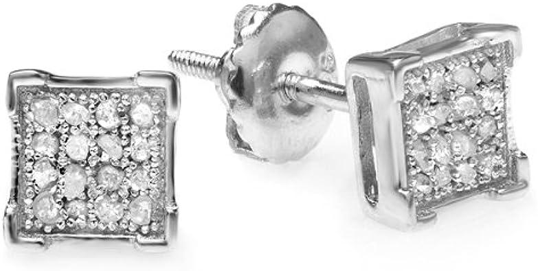 Diamond Dice Shape Earring ctw Sterling Silver Dazzlingrock Collection 0.30 Carat