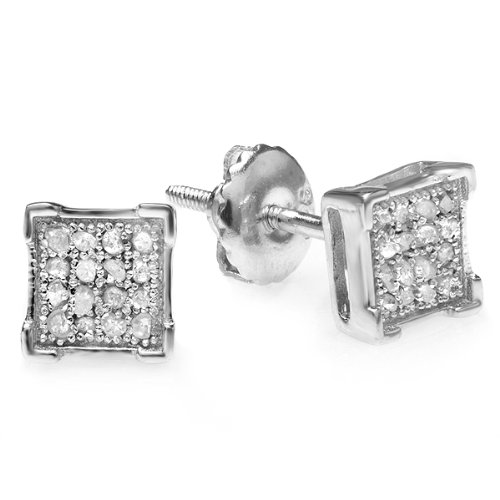 0.10 Carat (ctw) 10K White Gold Real Diamond V Prong Square Mens Hip Hop Iced Stud Earrings 1/10 CT by DazzlingRock Collection