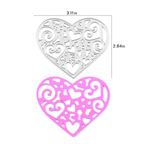 [Enipate Heart-Shaped Cutting Dies Carbon Steel Stencil Metal DIY Template (67X79mm (2.64X3.11in))] (Seven Dwarfs Costume Ideas)