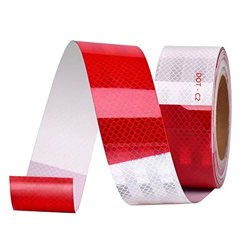 (Onerbuy Waterproof Reflective Safety Tape Hazard Caution Warning Sticker High Visibility Strong Adhesive Reflector Roll for Cars, Trucks, Trailers, 6M/20ft, Red & White)