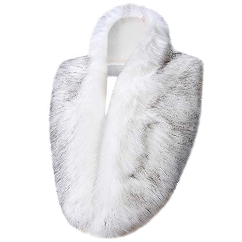 - Caracilia Women's Winter Fake Faux Fur Scarf Wrap Collar Shawl Shrug White Fox CA96
