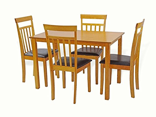 Maple Finish Wood Dining Table - Dining Kitchen Set of 5 Classic Dining Table And 4 Side Warm Chairs Classic Style Wood in Maple Finish