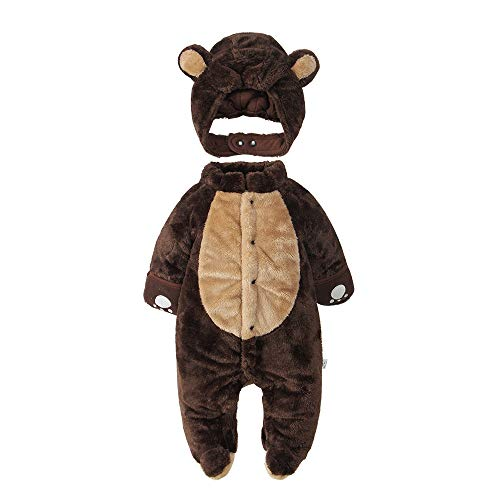 mikistory Newborn Sets Unisex Baby Outfits Jumpsuit Infant Winter Romper Baby Bodysuit Onesie Brown 7-10Months -