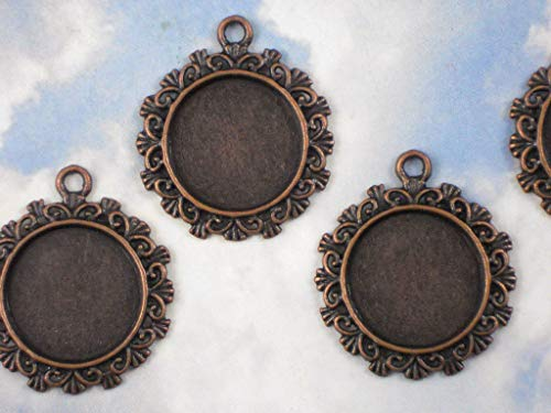 (Lot 4 pcs Round Bezel Pendants Mounting Tray Charms Settings Dark Copper Tone Vintage Crafting Pendant Jewelry Making Supplies - DIY Necklace Bracelet Accessories CharmingSS)