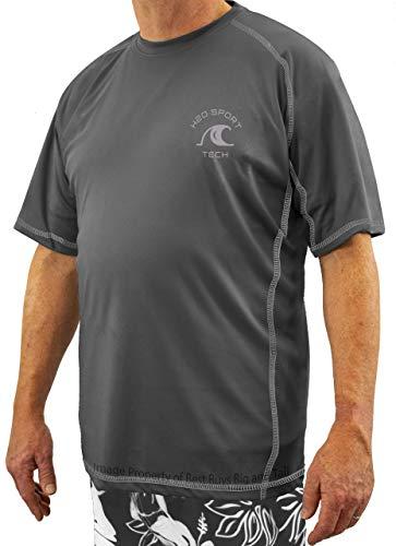 H2O Sport Tech Short Sleeve Raglan Swim Shirt Charcoal 2XLT #847C