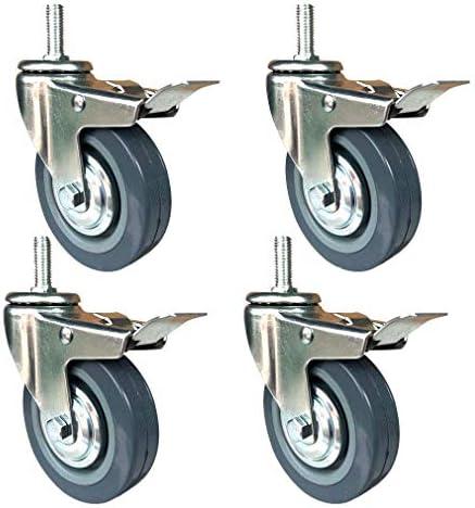 4Xキャスターホイール75mm / 100mm、ブレーキ付きスイベルキャスターホイール、M10ネジ付き取り付けロッド、産業機器および大型家具用の交換用キャスター(色:ブレーキ、サイズ:75mm)