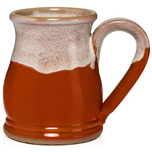 16 Ounce Potbelly Mugs (Burnt Orange/White)