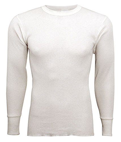Indera - Mens Long Sleeve Thermal Top, Natural, 800LS 19237-Large