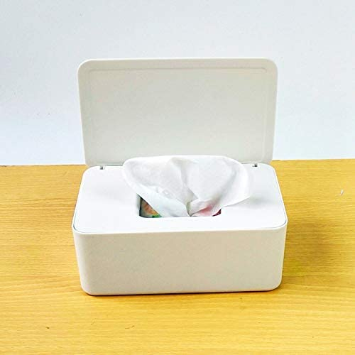 Storage Box Household Enlarged Capacity Wet Tissue Box, 7.3X4.8X2.7 in Desktop Tissue Box Artifact, Tissue Box Household Living Room Coffee Table Bathroom Desktop Pumping Box with lid Sealed (White)