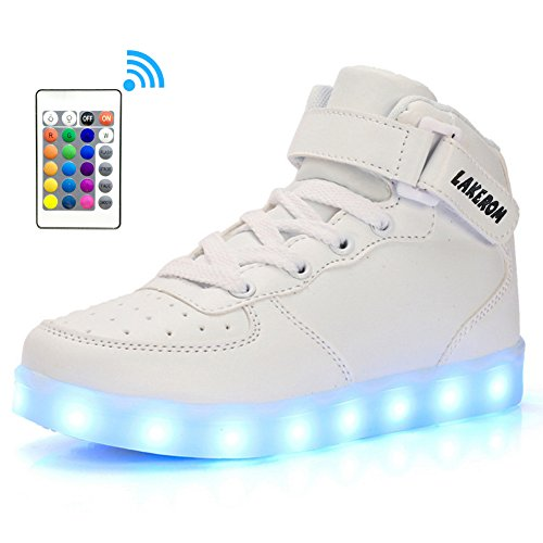 LakeRom Boys Shoes Boots USB Charging Litht up Led Shoes for Kids Girls Sneakers LRGB889N-White/RC-34
