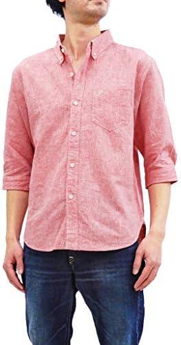 7分袖シャツ 20S-P7BD1 メンズ 綿リネン 無地 七分袖 ボタンダウンシャツ P7BD1