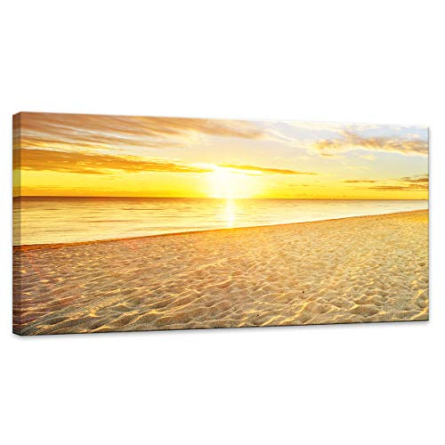 """Canvas Prints Wall Art Sunset Ocean Beach Pictures Photo Paintings for Living Room Bedroom Home Decorations Modern Stretched and Framed Yellow Seascape Waves Landscape Giclee Artwork Size:20""""x40"""