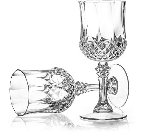 Laura Stein 4 Pack Disposable, Reusable, Heavy Weight Plastic Crystal Style Wine Glasses with Stem, Elegant Designed Round Wine Cups, Great For Wedding Reception, Parties, Or Any Upscale Event,