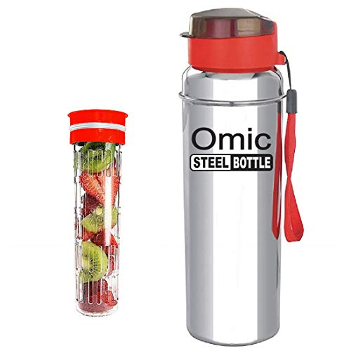 Omic Stainless Steel Fruit Infuser Water Bottle, Stainless Steel Bottle with Infusion Unit, (Color May Be Vary) (850)