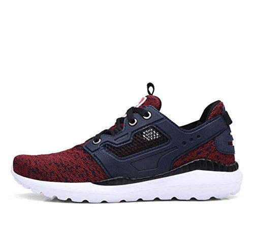 Onfly Bomba Tejido Malla Hilado de red Zapatos deportivos Zapatos casuales Hombres Respirable Color puro Cordon de zapato Antideslizante Snekers Zapatos para correr Conducción Zapatos Tamaño de la UE  wine red
