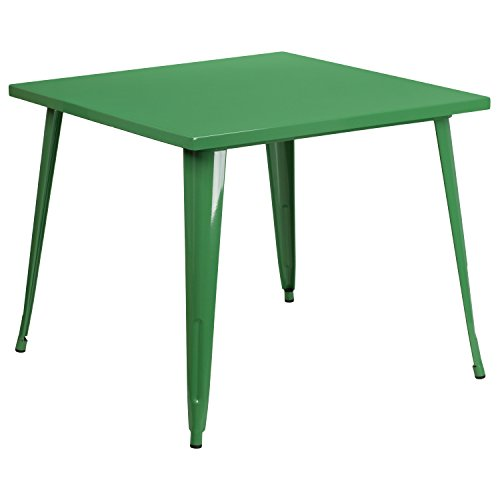 Flash Furniture 35.5'' Square Green Metal Indoor-Outdoor Table