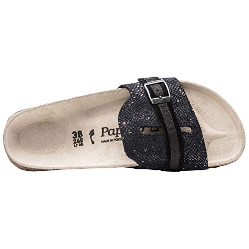 Papillio 1007275 Veloursleder Black Splahes Sandale schmal Silver Carmen rqwxrU0T