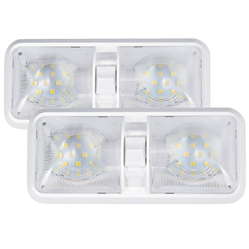 Kohree 12V Led RV Ceiling Dome Light RV Interior Lighting for Trailer Camper with Switch, White(Pack of 2)