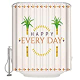 Shower Curtain for Bathroom - Happy Everyday Cartoon Tree - Water Repellent Mildew Resistant Washable -Size:72''x72''