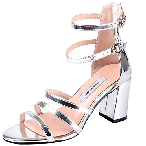 Artfaerie Womens Metallic Block High Heel Ankle Strap Sandals Double Buckle Strappy Dress Sweet Shoes (US 10, Silver)