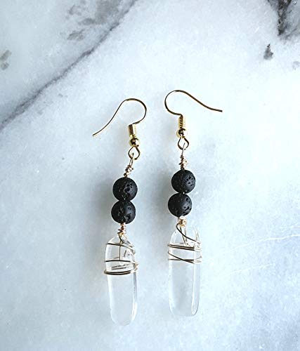 Smooth Clear Quartz and Lava Stone Essential Oil Diffuser Earrings Standard or Kidney Hook