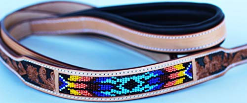 CHALLENGER Handmade Beaded Leather Dog Collar Leash Padded Handle 6' 60069B
