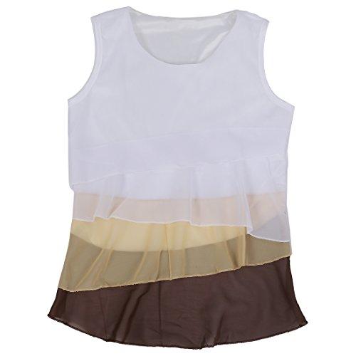 Cascada Blusa de Camisa de gasa Sin Lindo La Mangas SODIAL las de mujeres La R Marron Tirantes Volantes Camiseta XL de fOUZgqzw