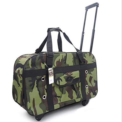 - Pet Trolley Case Multi-Faceted Breathable Handbag Two in one Portable Cat Dog Travel Carrier Case Luggage Box with Rollers Telescopic Handle Pull Rod Length 79cm