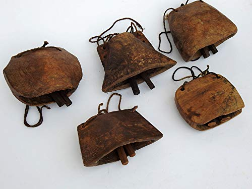 Lot of 05 Pcs Antique 1900'S Teak Wood Cow Bells,Wooden Camel Bell, Tribal Goat Bell, Vintage Hand Carved Collectible Art Ethnic Bell Wind Chime ()