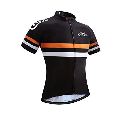 Celero Men's Cycling Jersey Bike Short Sleeve Shirt(Orange, M)
