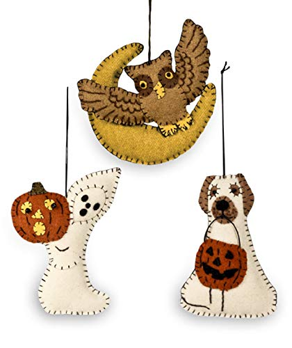 Bethany Lowe Halloween Friends Fabric Ornament - Set of 3