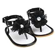 Voberry Baby Infant Girls Flower Pearl Princess Sandals Soft Sole First Walker Crib Shoes (0~6 Month, Black)