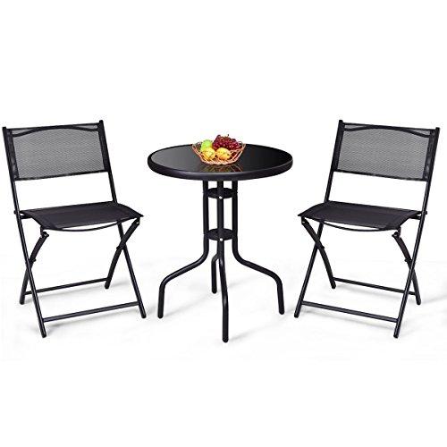 Cheap  Giantex 3 Pcs Bistro Set Garden Backyard Table Folding Chairs Outdoor Patio..