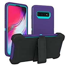 Galaxy S10 Plus Case, ToughBox [Armor Series] [Shock Proof] [Purple | Aqua] for Samsung Galaxy S10 Plus Case [with Holster & Belt Clip] [Fits OtterBox Defender Series Belt Clip Phone Cover]